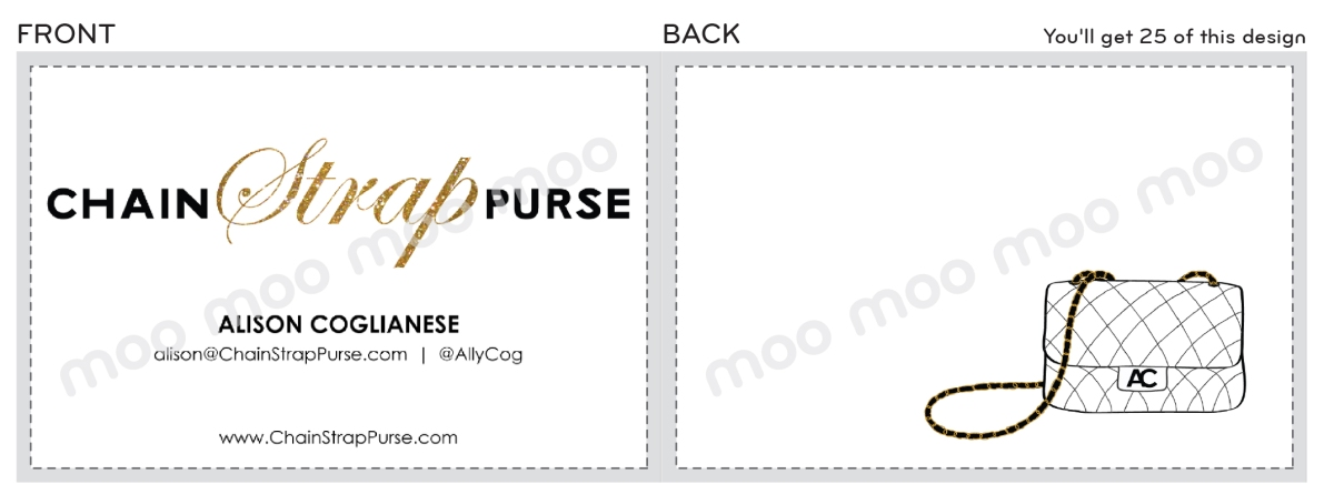 Chain Strap Purse - Fashion Blog. Logo design and business cards.